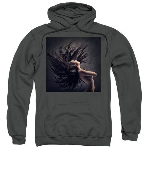 Woman Waving Long Dark Hair Sweatshirt