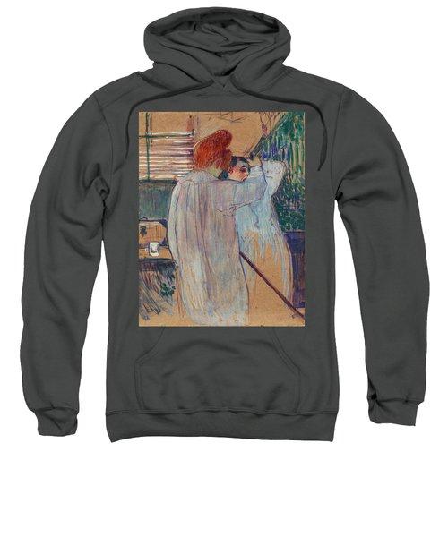Women Combing Their Hair - Two Women Dressing Nightshirts Sweatshirt f6d82965f