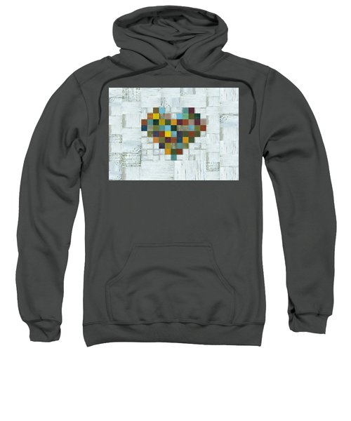 Sweatshirt featuring the digital art Wooden Heart 2.0 by Michelle Calkins