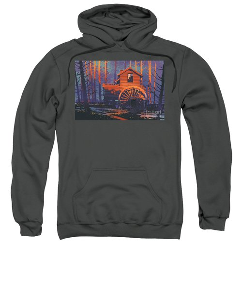 Sweatshirt featuring the painting Wooden House by Tithi Luadthong