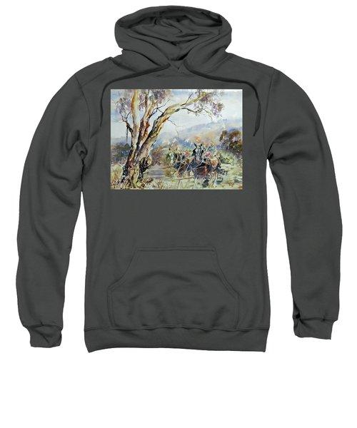 Working Clydesdale Pair, Australian Landscape. Sweatshirt