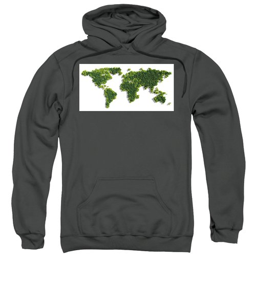 World Map Made Of Green Trees Sweatshirt