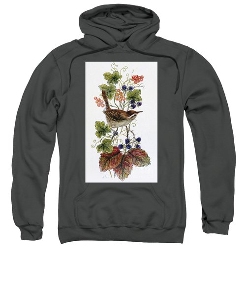 Wren On A Spray Of Berries Sweatshirt by Nell Hill