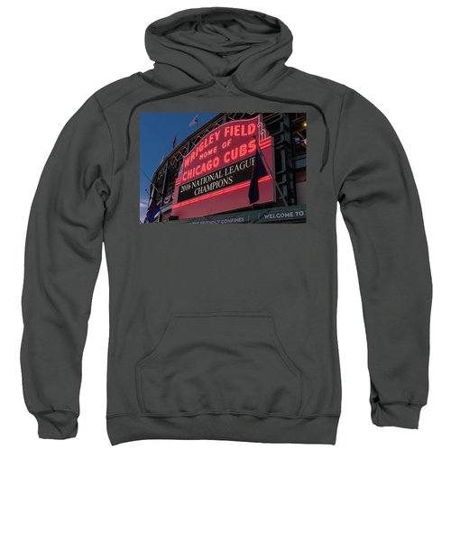 Wrigley Field Marquee Cubs National League Champs 2016 Sweatshirt by Steve Gadomski
