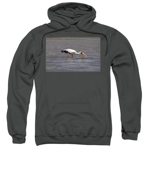 Yellow Billed Stork Wading In The Shallows Sweatshirt