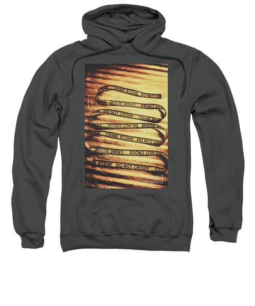 Yellow Crime Scene Ribbon On Metal Background Sweatshirt