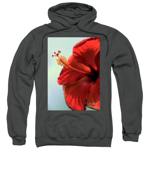Yellow Red And Coral Hibiscus Profile Sweatshirt