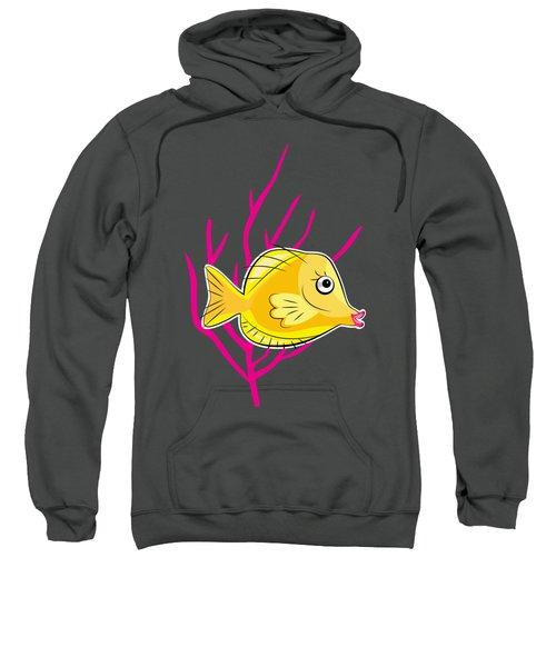 Yellow Tang In Pink Coral Sea Sweatshirt