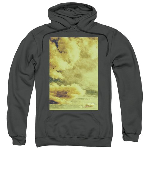 Yellow Toned Textured Grungy Cloudscape Sweatshirt