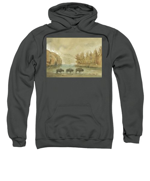 Yellowstone And Bisons Sweatshirt by Juan Bosco