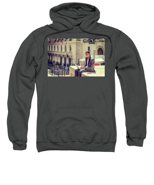 Young African American Man Working On Wall Street In New York Sweatshirt