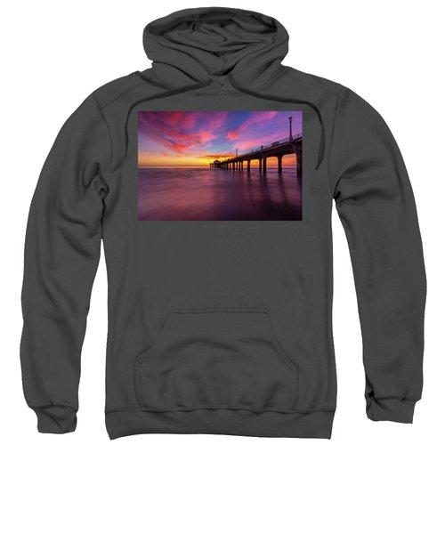 Stunning Sunset At Manhattan Beach Pier Sweatshirt