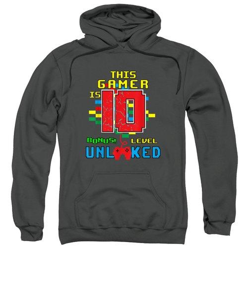 10th Birthday Shirt Video Game Unlocked Level 10 Year Old Sweatshirt