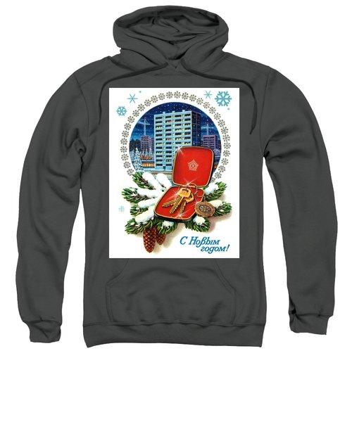 Vintage Soviet Holiday Postcard Sweatshirt