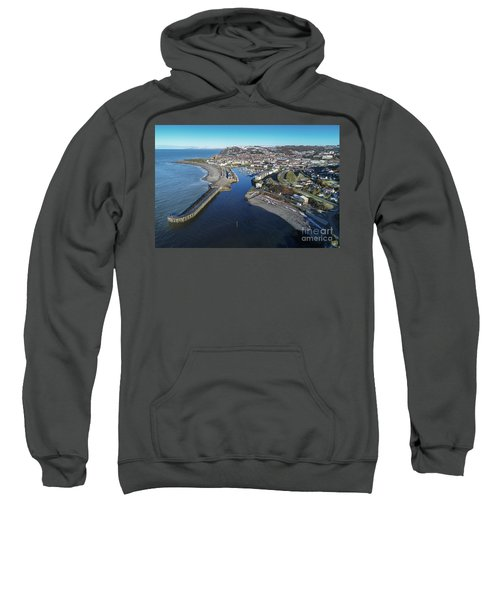 Aberystwyth Harbour From The Air In Winter Sweatshirt