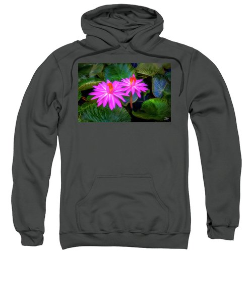 Sweatshirt featuring the digital art Abstracted Water Lilies by Endre Balogh