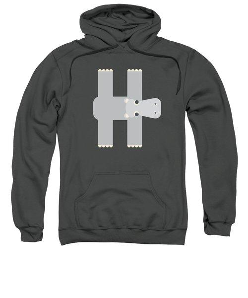 Animal Alphabet - Letter H - Hippo Monogram Sweatshirt