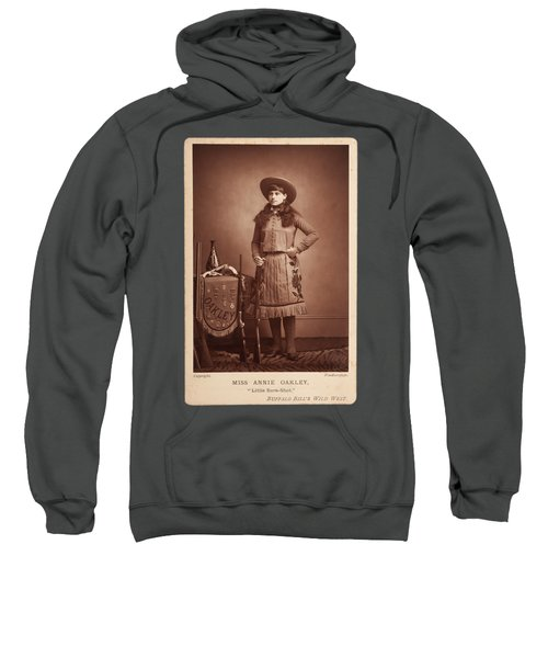Sweatshirt featuring the painting Annie-oakley-woodburytype-cabinet-card-c1890s by Celestial Images