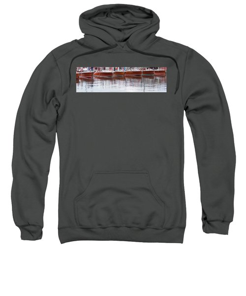 Antique Classic Wooden Boats In A Row Panorama 81112p Sweatshirt