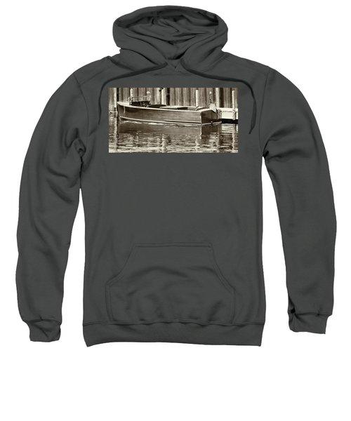Antique Wooden Boat By Dock Sepia Tone 1302tn Sweatshirt