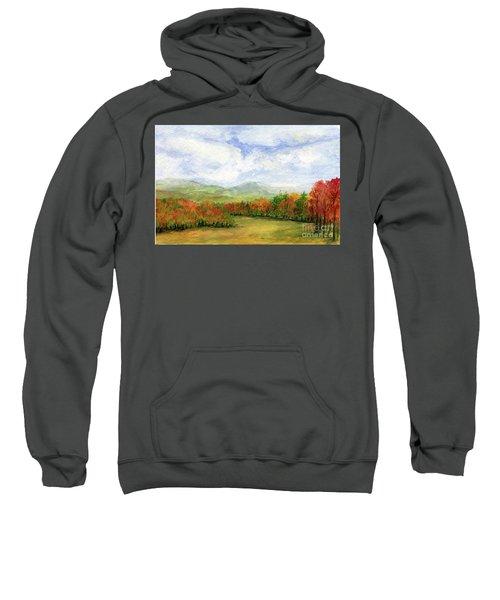 Autumn Day Watercolor Vermont Landscape Sweatshirt
