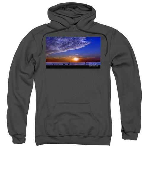 Beautiful Sunset With Ships And People Sweatshirt
