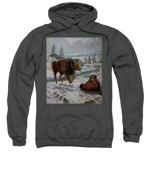 Bison In Yellowstone In The Winter Sweatshirt