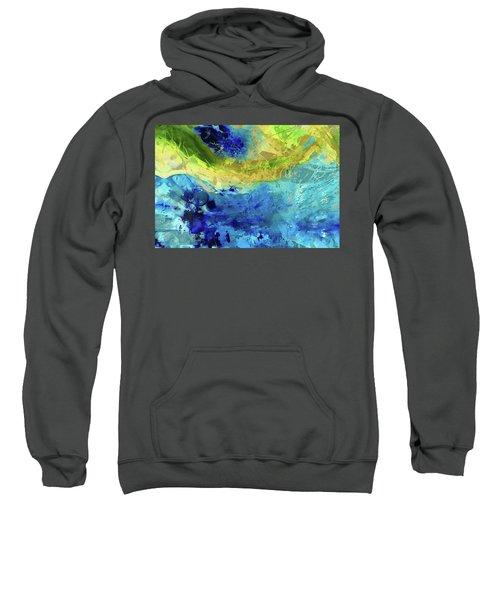 Blue And Yellow Abstract Art - Renewal - Sharon Cummings Sweatshirt