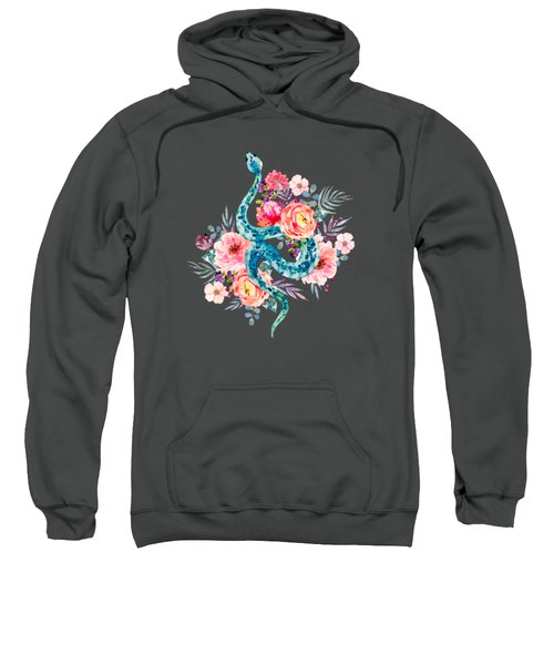 Blue Watercolor Snake In The Flower Garden Sweatshirt