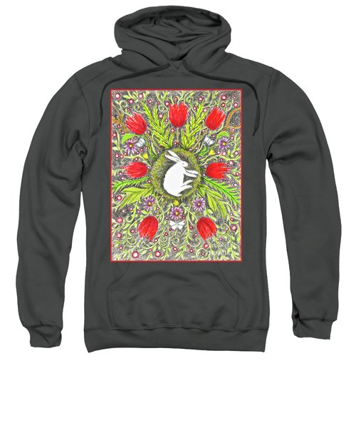 Bunny Nest With Red Flowers And White Butterflies Sweatshirt
