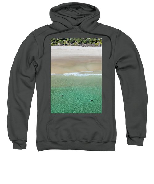 Sweatshirt featuring the photograph Byron Bay Swimmers by Chris Cousins