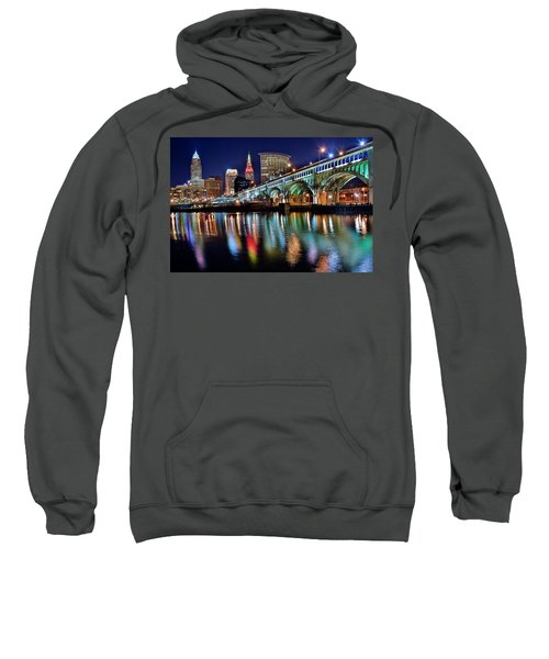 Cleveland Ohio Skyline Reflects Colorfully Sweatshirt