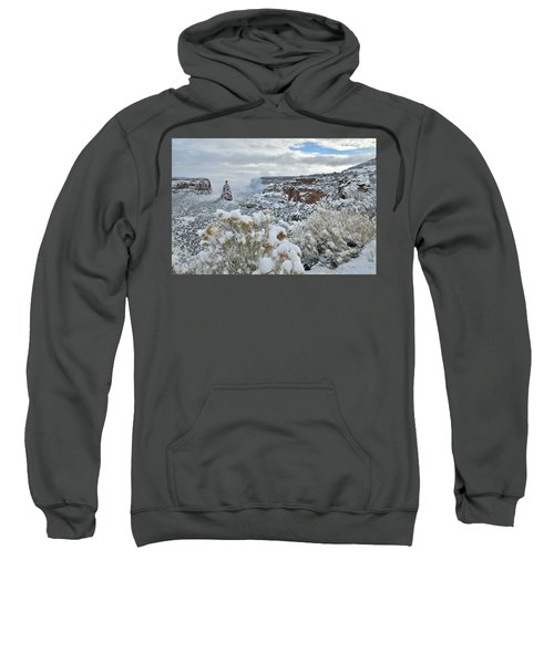 Clouds Break Over Snow Covered Independence Canyon Sweatshirt