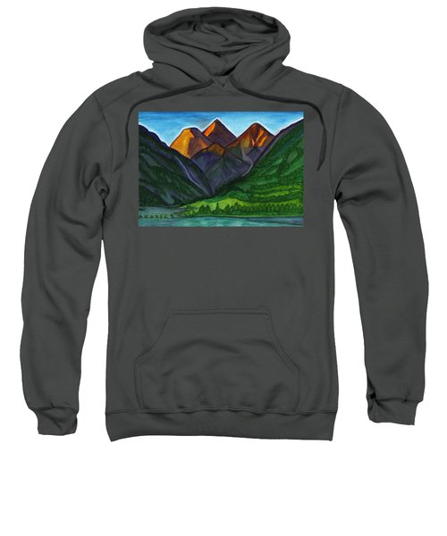 Evening Illumination Of Snowy Mountain Peaks With Waterfalls And A Mountain River Sweatshirt