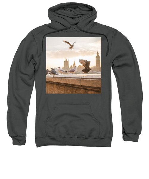 Doves And Seagulls Over The Thames In London Sweatshirt