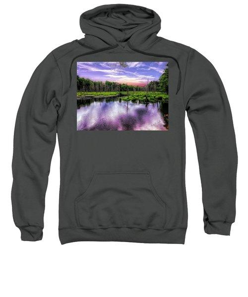 Dusk Falls Over New England Beaver Pond. Sweatshirt