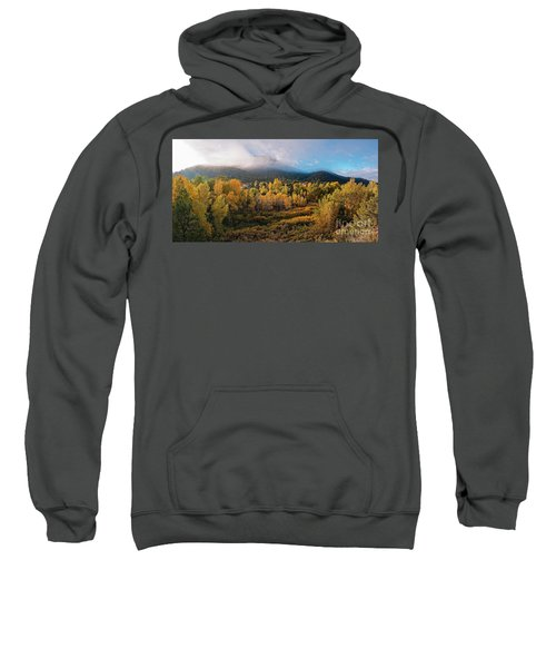 Early Morning Panorama Of Changing Aspens And Picacho Peak - Twomile Reservoir - Santa Fe New Mexico Sweatshirt