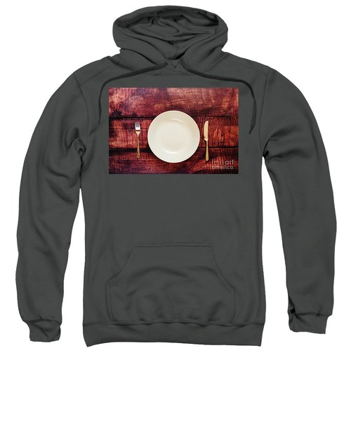Empty Plate With Cutlery, Top View, Concept Of Intermittent Fast Sweatshirt