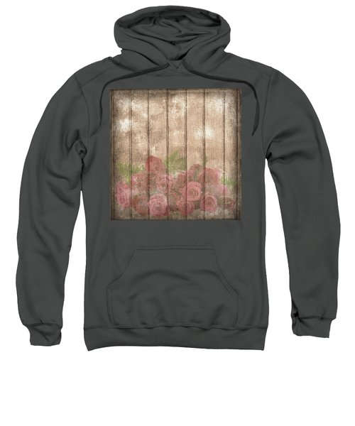 Faded Red Country Roses On Wood Sweatshirt