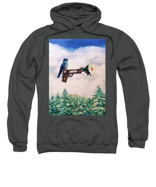 Flower In A Gun- Bluebird Of Happiness Sweatshirt