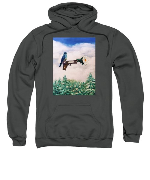 Flower In A Gun- Bluebird Of Happiness Sweatshirt
