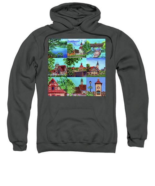 Frankenmuth Downtown Michigan Painting Collage II Sweatshirt