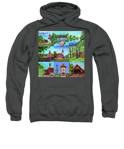 Frankenmuth Downtown Michigan Painting Collage IIi Sweatshirt
