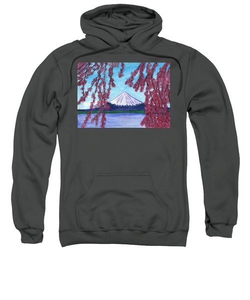 Sakura Blooming On The Background Of A Snowy Mountain Sweatshirt