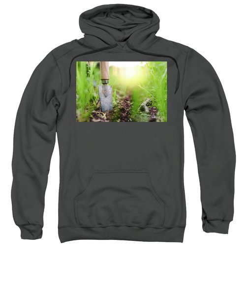 Gardening Shovel In An Orchard During The Gardener's Rest Sweatshirt