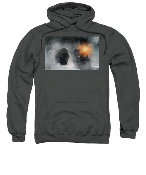 Giant Buffalo Attacking Train Sweatshirt
