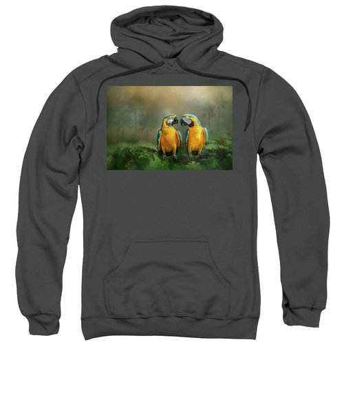 Gold And Blue Macaw Pair Sweatshirt
