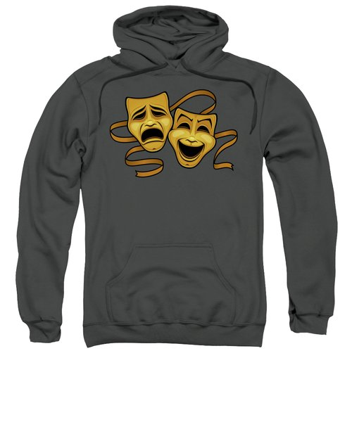 Gold Comedy And Tragedy Theater Masks Sweatshirt