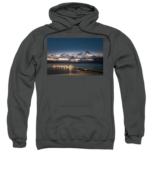 Homer Spit With Moonlit Mountains Sweatshirt