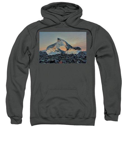Iceland Diamond Beach Abstract  Ice Sweatshirt